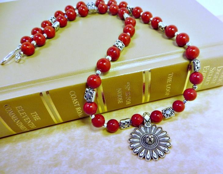 Cherry Red Bead Flower Pendant