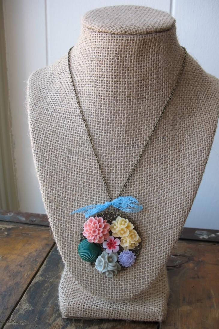 Large Floral Pendant with Blue Lace