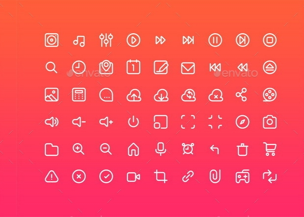 Multimedia Stroke Icons