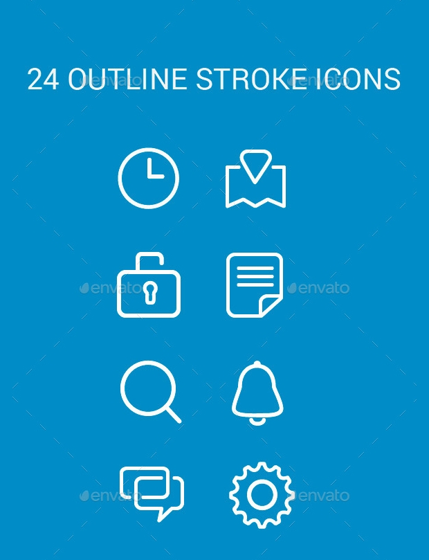 Outline Stroke Icons Set