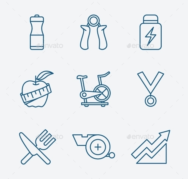 Outline Stroke Fitness Icons