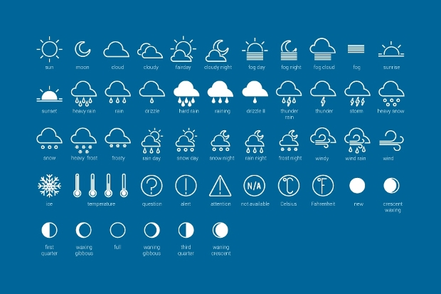 Weather Stroke Icons Set