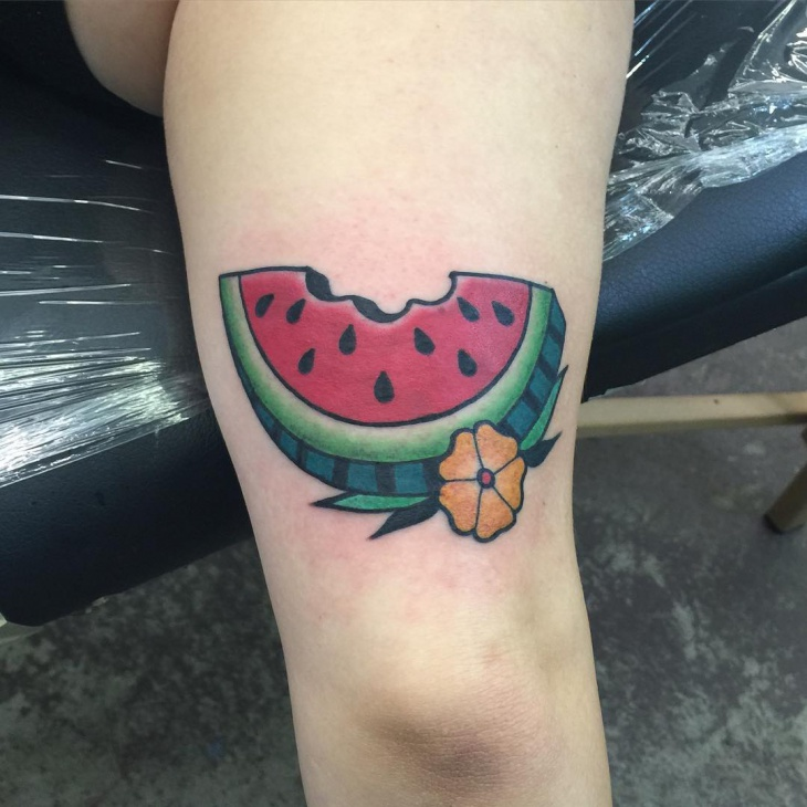 Watermelon Tattoo for Leg