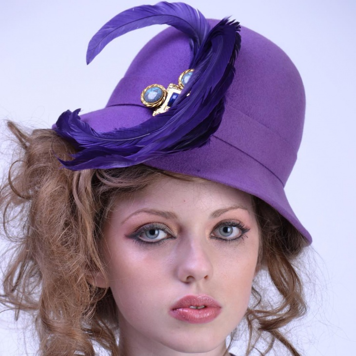 Purple Feather Hat