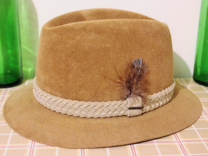 simple side feather hat