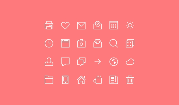 thin stroke psd icons