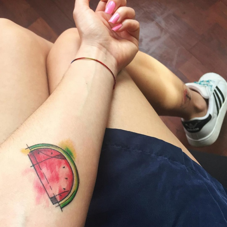 Small Watermelon Tattoo on Wrist