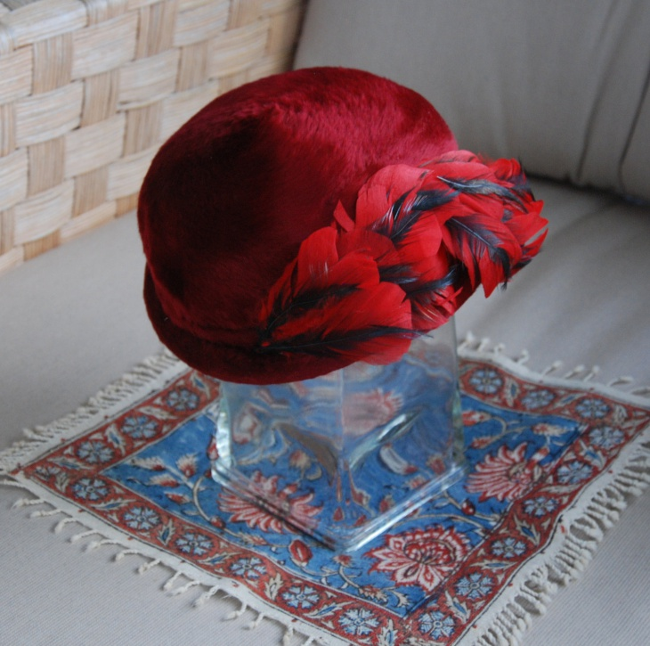 Bright Red Feather Hat