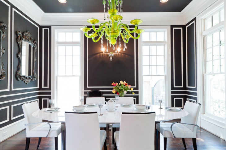 White Dining room with Green chandelier
