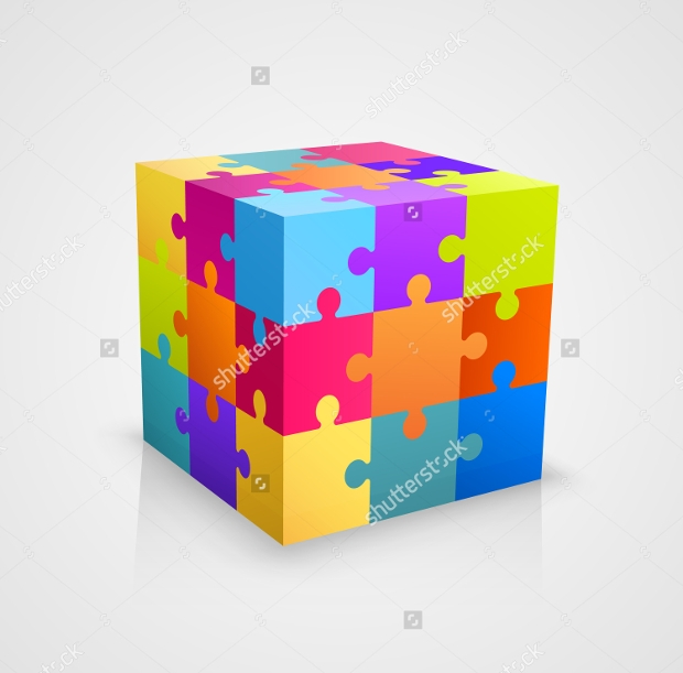 cube puzzle vector art