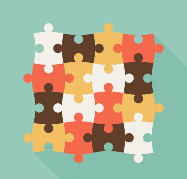 Vintage Puzzle Pieces Free Vector