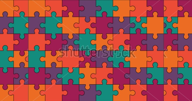 Colored Puzzle Vector Illustration