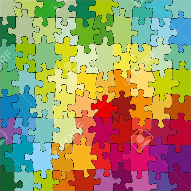 jigsaw color puzzle vector