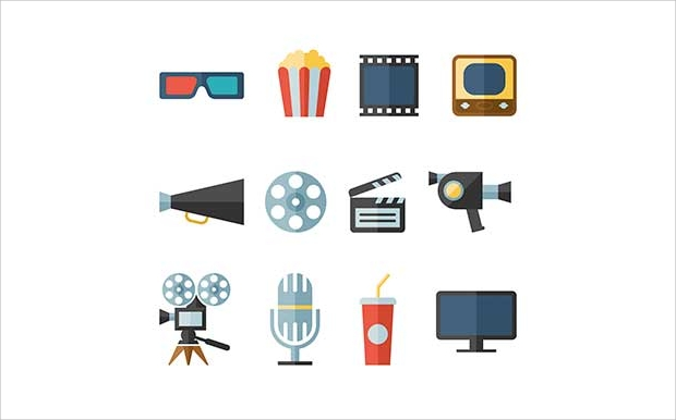 Flat Movie Icons Set