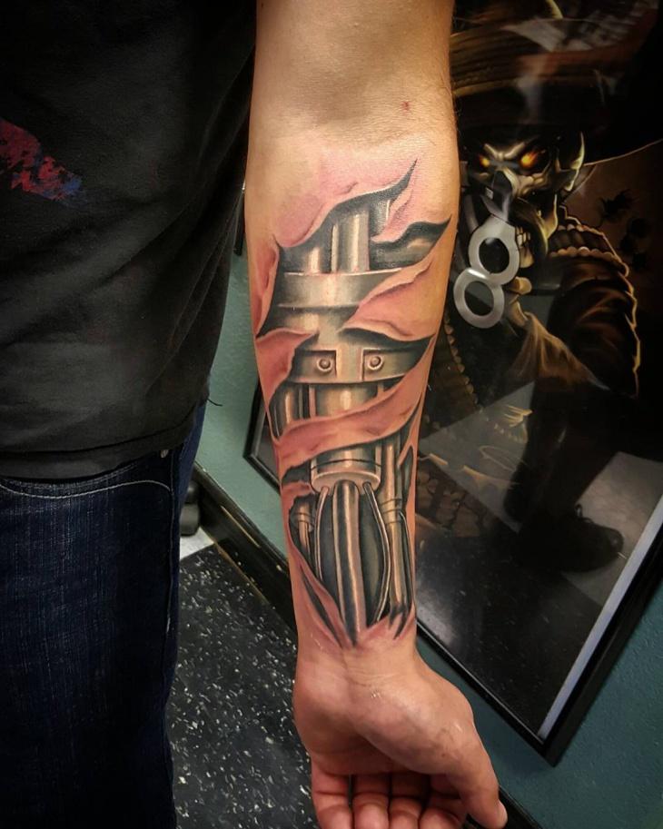 Mechanic Forearm Tattoo Idea