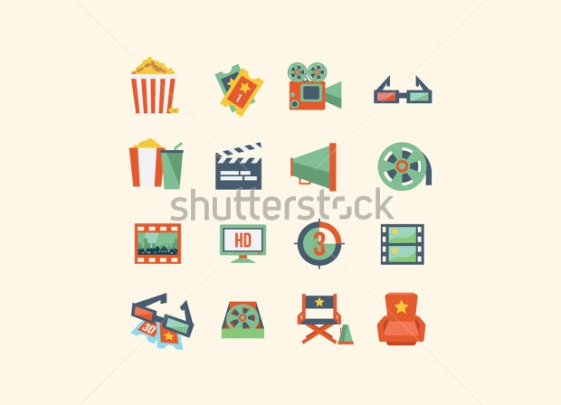 Vintage Movie Icon Set