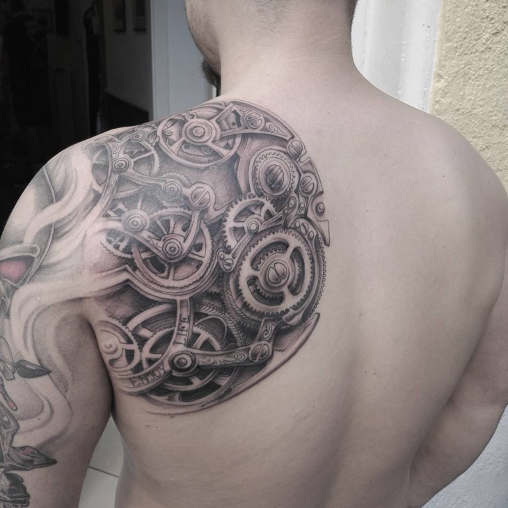 clock work mechanic tattoo for men