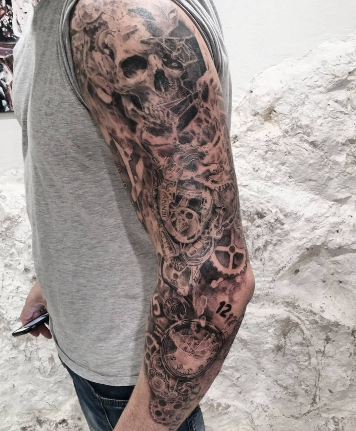 mechanic sleeve tattoo design