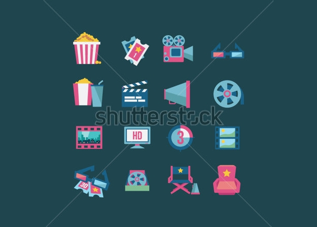 Colorful Movie Icon Set