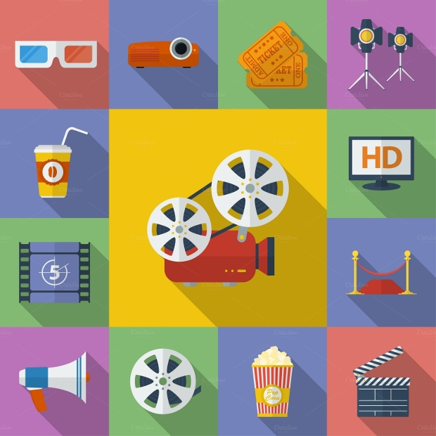 Modern Flat Movie Icons