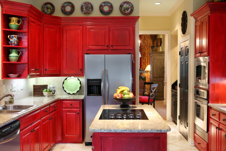 pine red kitchen cabinets