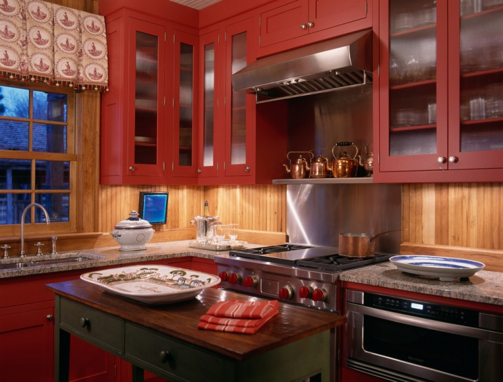 maple red kitchen cabinets