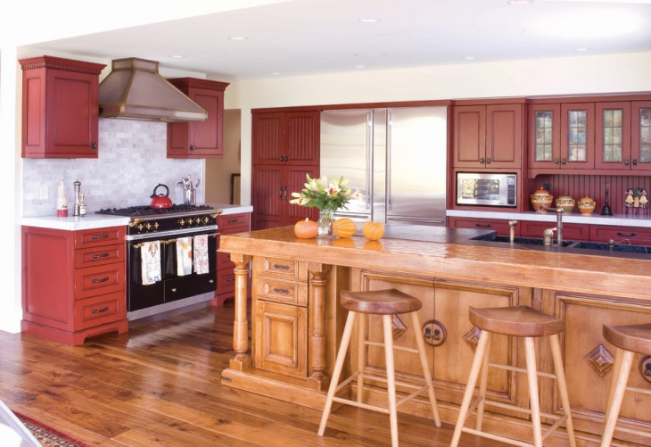 red wood kitchen cabinets