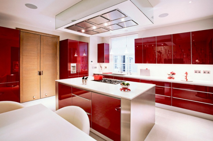 white and red kitchen cabinet