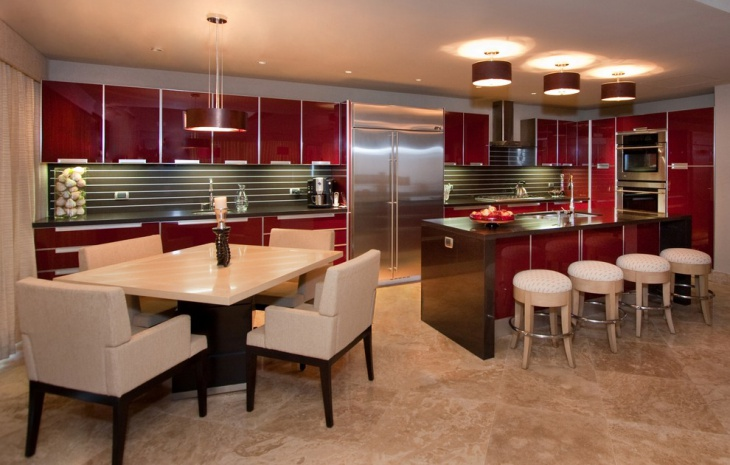 Contemporary Kitchen with Red Glass Cabinets