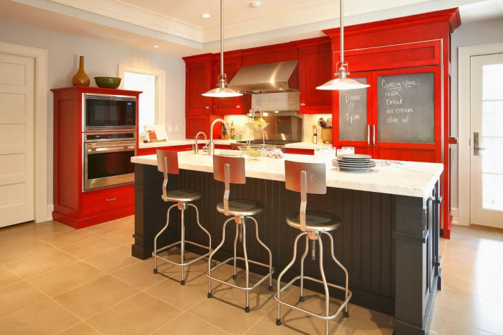 eclectic red kitchen cabinets