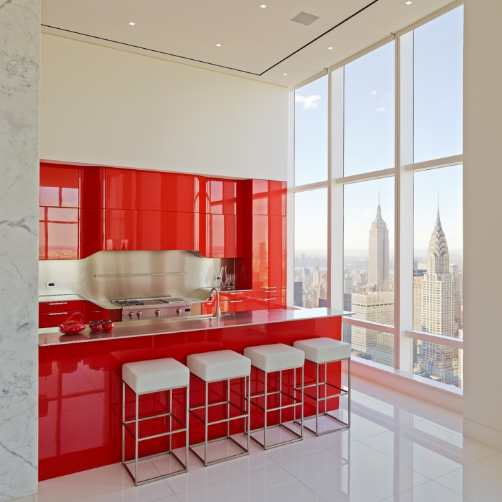 Red Wall Kitchen Idea