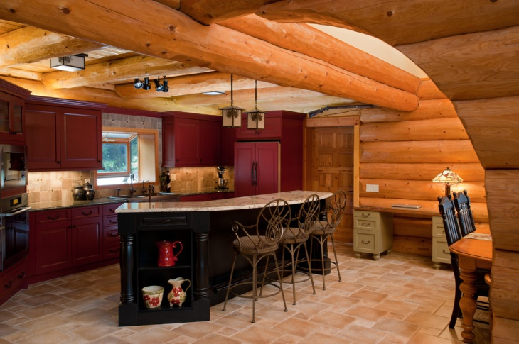 Red Wall Rustic Kitchen Cabinets