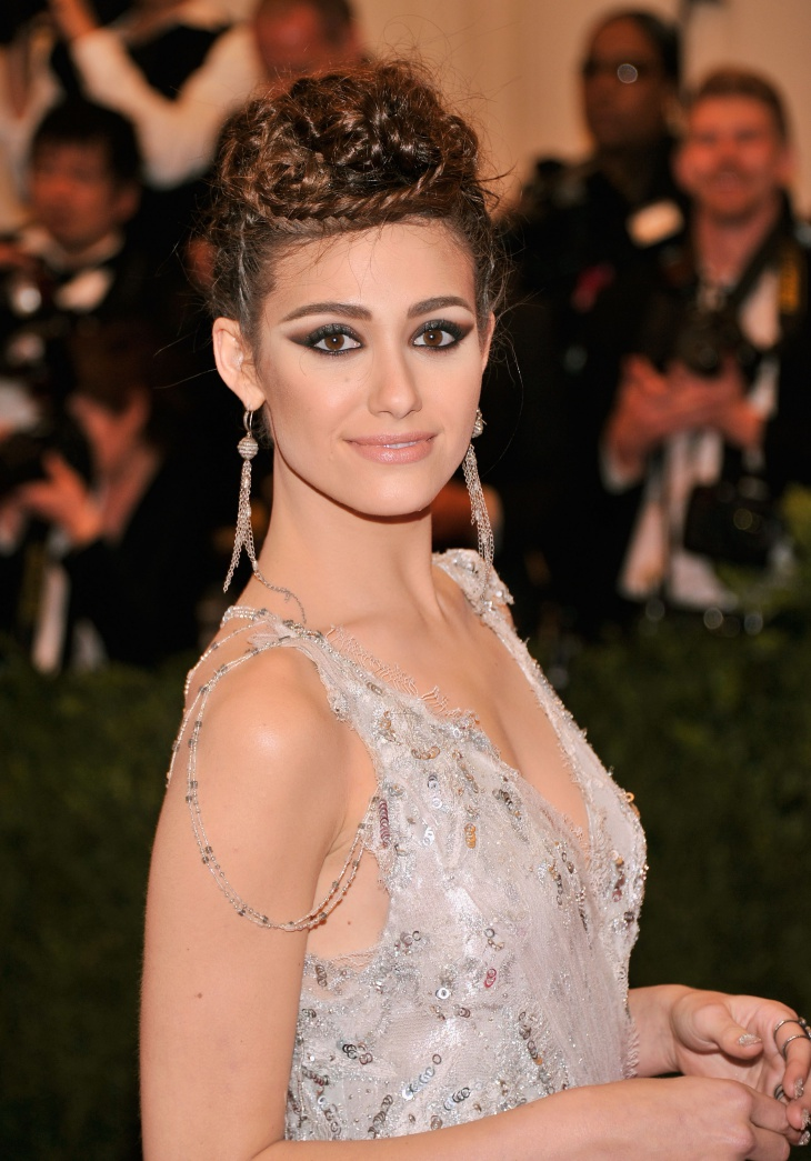 Emmy Rossum Braided Top Knot Bun