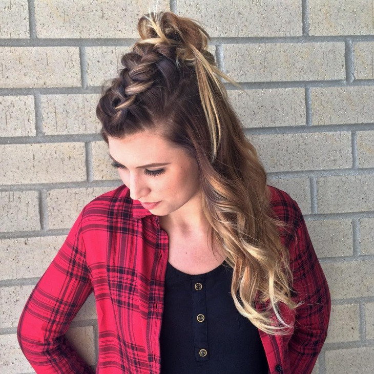 Wavy French Braided Top Knot