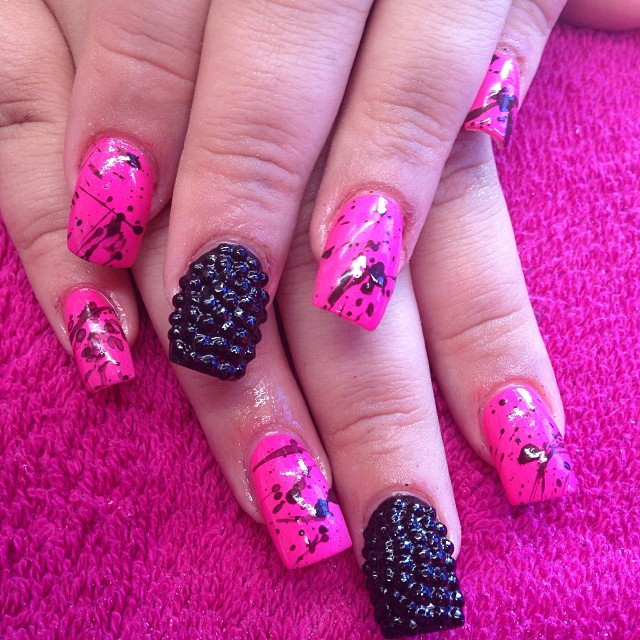 pink splattered nail design idea