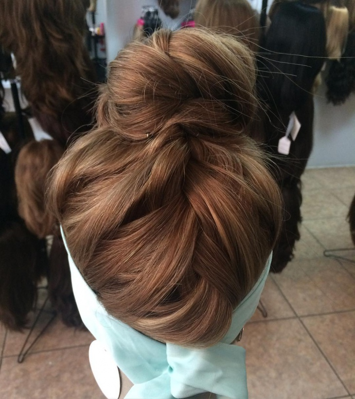 Pretty Braided Bun Hairstyle