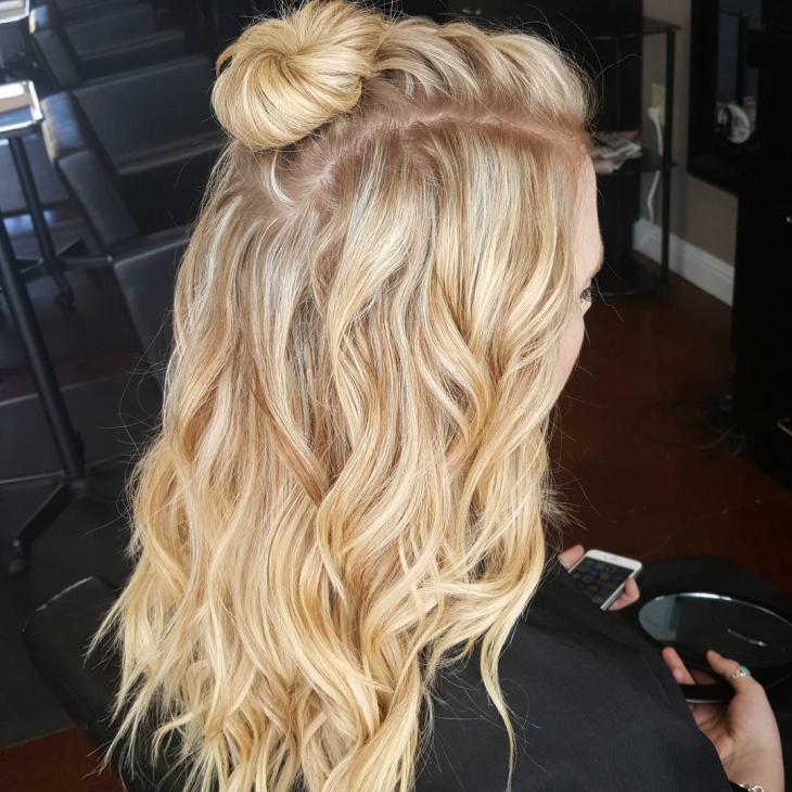 Blonde Braided Top Knot Hairstyle