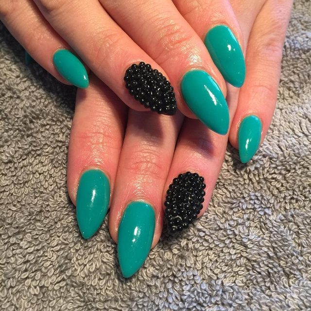 black and teal beaded nails