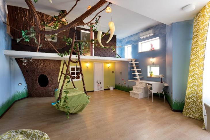 Interior treehouse bed idea