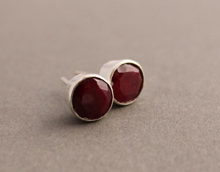 ruby studs earrings