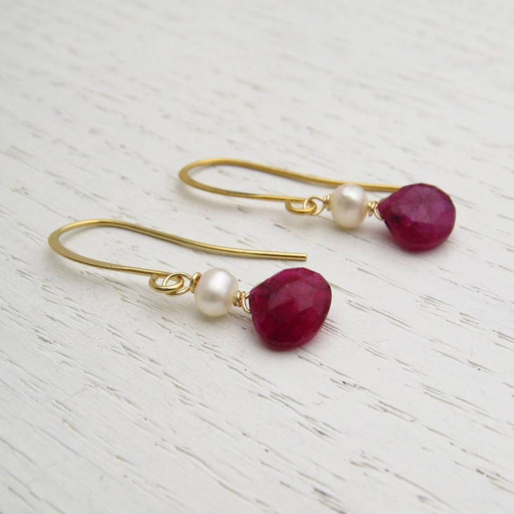 gold drop ruby earrings