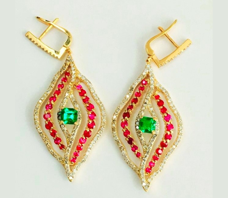emerald ruby earrings design