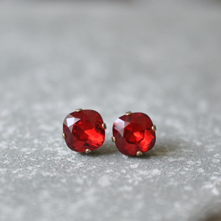 bright red square stud earrings