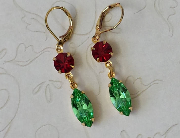 peridot and ruby earrings