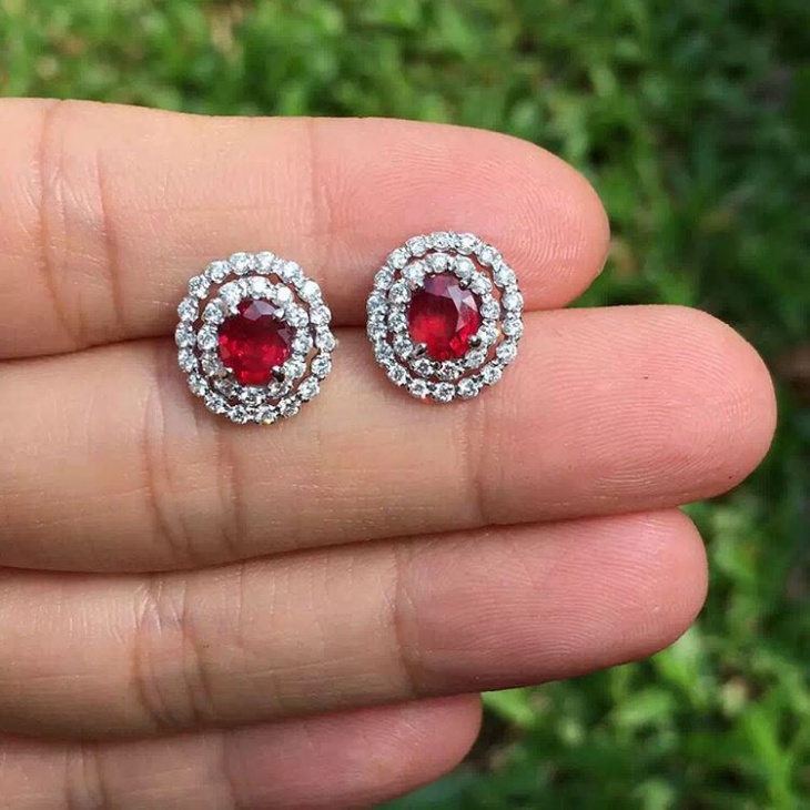 double stone ruby earrings