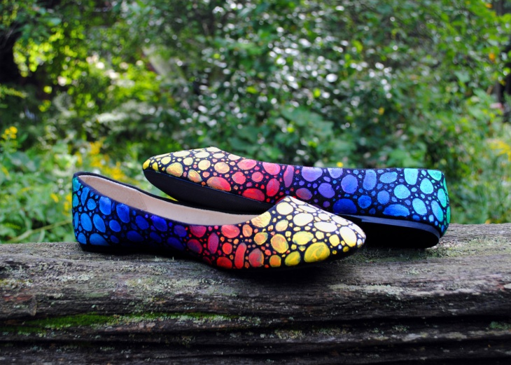 colorful mosaic ballet shoes