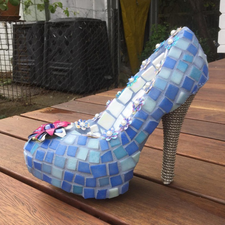 gorgeous blue glass mosaic heels