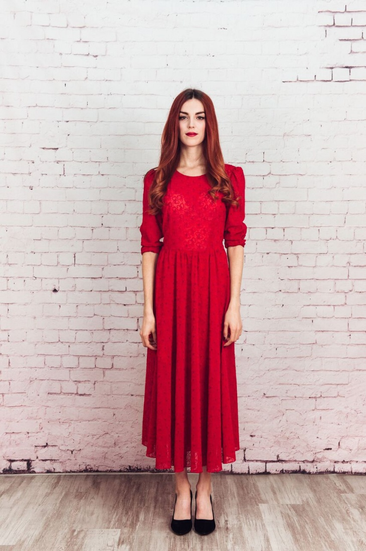 red party full skirt dress
