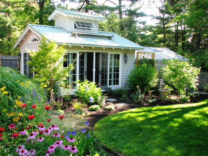 Modern Shed Shrub Garden