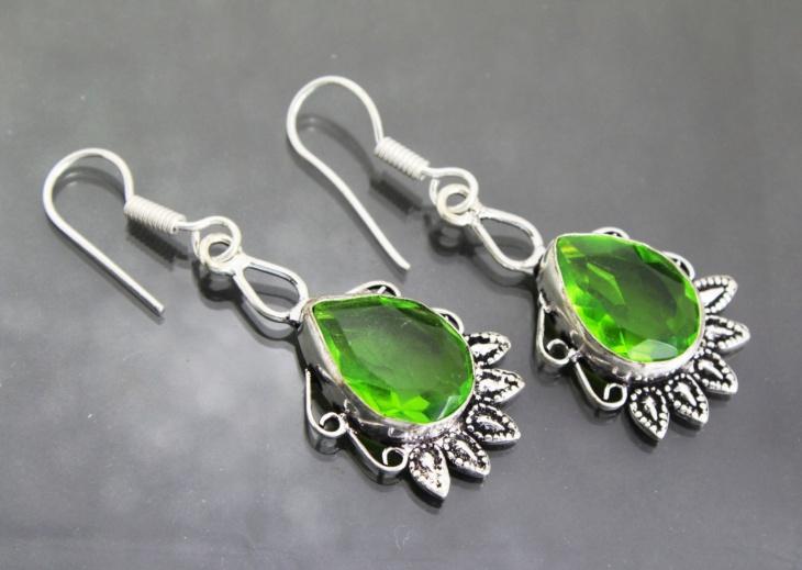 Sliver Peridot Earrings